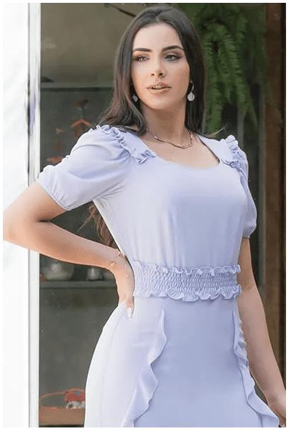 Vestido Crepe Lastex Cintura - Moda Evangélica Luciana Pais (92889 T)