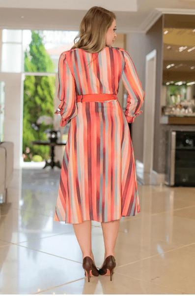 Vestido Crepe Listrado C Cinto Faixa - Moda Evangélica Kauly  (3098 E)