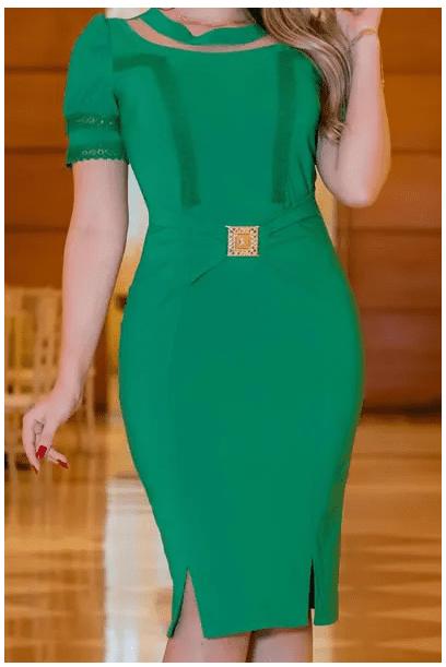 Vestido Em Alfaiataria C Cinto - Moda Evangélica Kauly (2984-2985 E)