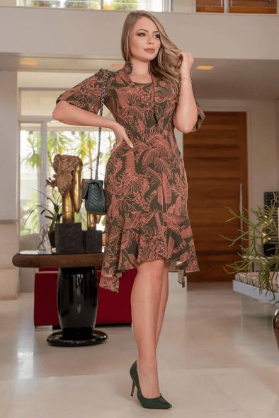 Vestido Em Alfaiataria Estampado - Moda Evangélica Kauly (3107 T)