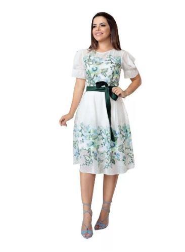 Vestido Em Chiffon Bordada - Lançamento Kauly (2716)