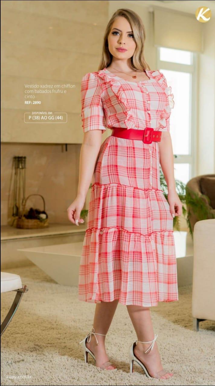 Vestido Em Chiffon - Moda Evangélica Lançamento Kauly (2890 T)