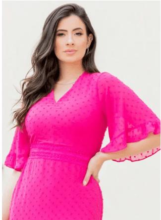 Vestido Em Chiffon - Moda Evangélica Lançamento Luciana Pais (92843 T)