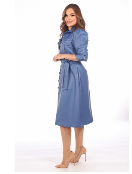 Vestido Em Courino C Cinto Faixa - Moda Evangélica Joyaly (12065 T)