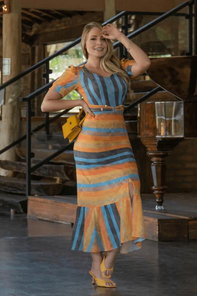 Vestido Crepe C Elastano - Moda Evangelica Kauly (3054-3055 E)