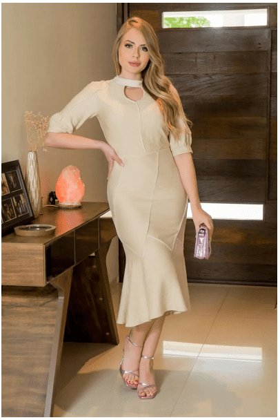 Vestido Em Crepe C Vivos - Moda Evangélica Kauly (2936 T)