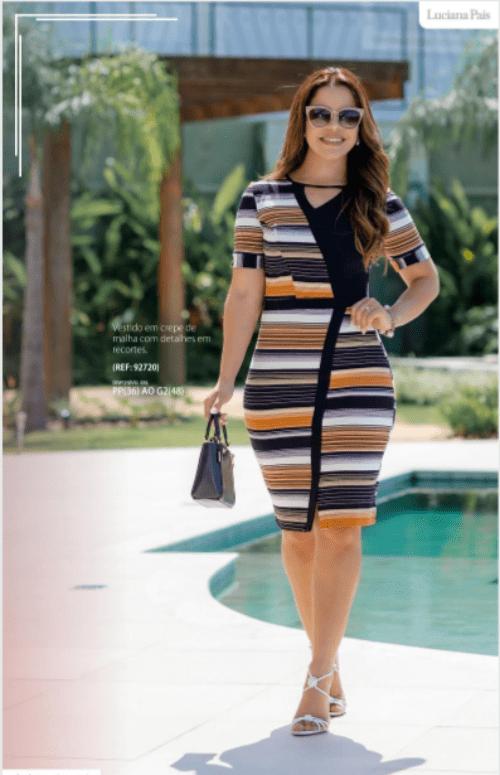 Vestido Em Crepe - Moda Evangélica  Luciana Pais (92720 E)