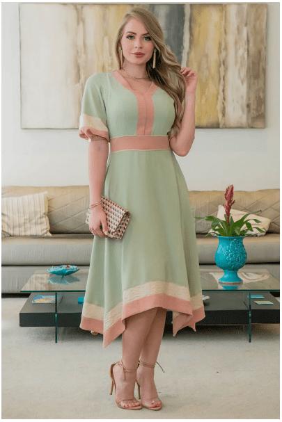 Vestido Em Crepe - Moda Evangélica Kauly (2932 E)