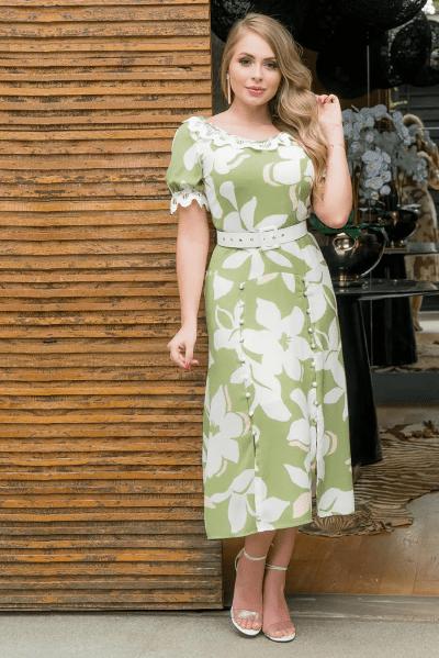 Vestido Em Crepe - Moda Evangélica Kauly (2948 T)