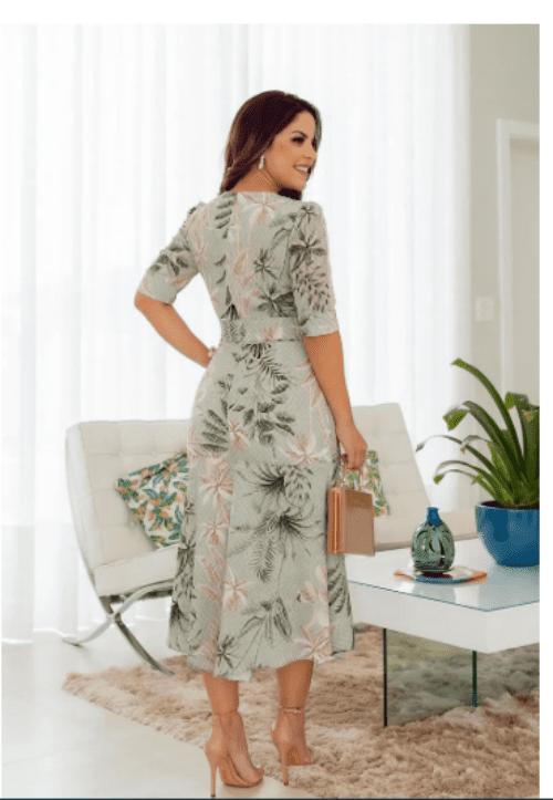 Vestido Em Crepe - Moda Evangélica Lançamento Kauly (2747)
