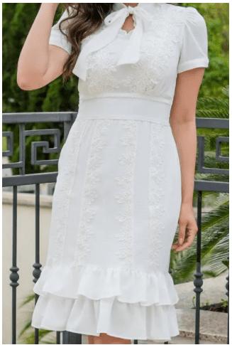 Vestido Em Crepe - Moda Evangélica Lançamento Luciana Pais (92847 E)