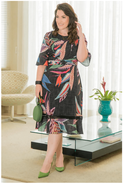 Vestido Em Crepe Plus Size - Moda Evangélica Kauly (2916 T)