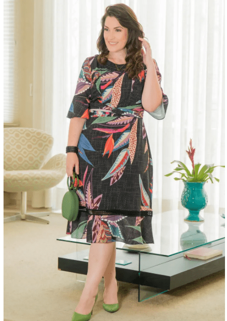 Vestido Em Crepe Plus Size - Moda Evangélica Kauly (2916 E)