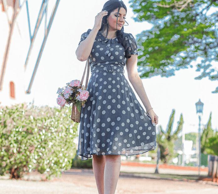 Vestido Em Crepe Poá - Moda Evangélica Joyaly (30748 T)