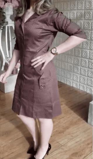Vestido Em Jacquard Detalhe Poa - Kauly (7044 E)