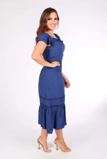 Vestido Em Jacquard - Moda Evangélica Joyaly (30947 E)