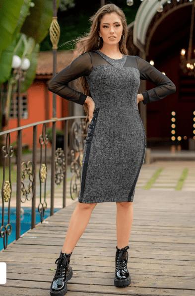 Vestido Em Jacquard - Moda Evangélica Luciana Pais (92984 T)