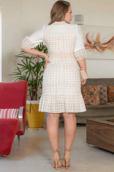Vestido Em Laise Bordado - Moda Evangélica Kauly (3137 E)
