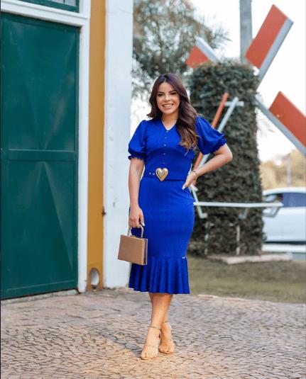 Vestido Em Laise E Cinto - Moda Evangélica Joyaly (30662 T)