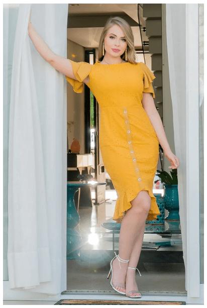 Vestido Em Laise Mullet - Moda Evangélica Kauly (2919 T)