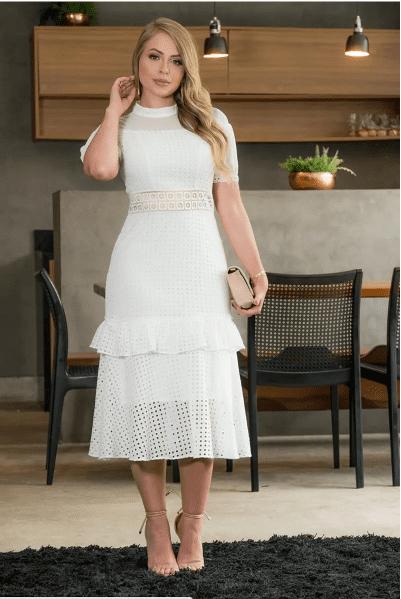Vestido Em Lasie - Moda Evangélica Lançamento Kauly (2961 E)