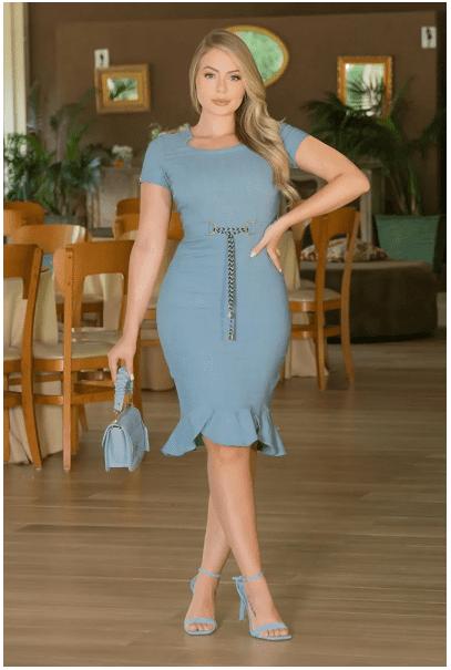 Vestido Em Linho C Cinto Cordão - Moda Evangélica Kauly (3003 E)