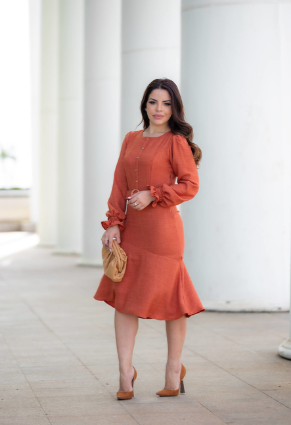 Vestido Em Linho - Moda Evangélica Joyaly (30600 E)