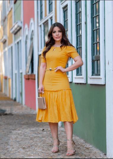 Vestido Em Linho - Moda Evangélica Joyaly (30713 T)