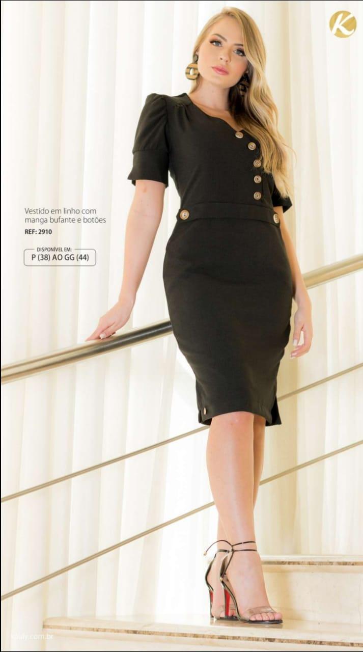 Vestido Em Linho - Moda Evangélica Lançamento Kauly (2910 T)