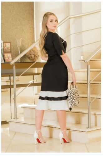 Vestido Em Linho - Moda Evangélica Lançamento Kauly (2914 E)