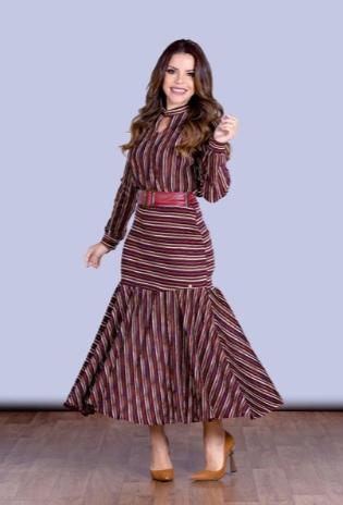 Vestido Em Malha Com Cinto - Lançamento Joyaly (30550 T)