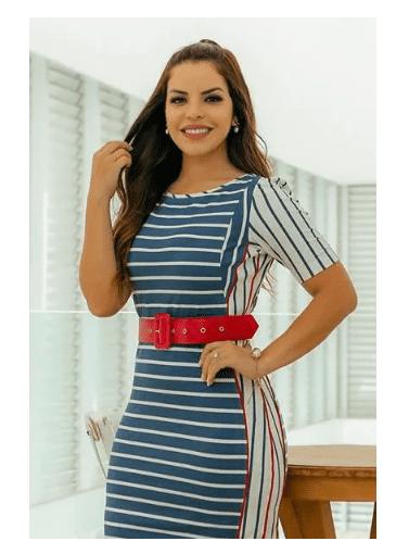 Vestido em Malha Listrado - Luciana Pais 92726 E)