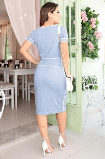 Vestido Em Malha Poliamida Detalhes em Vivos - Luciana Pais (92632)
