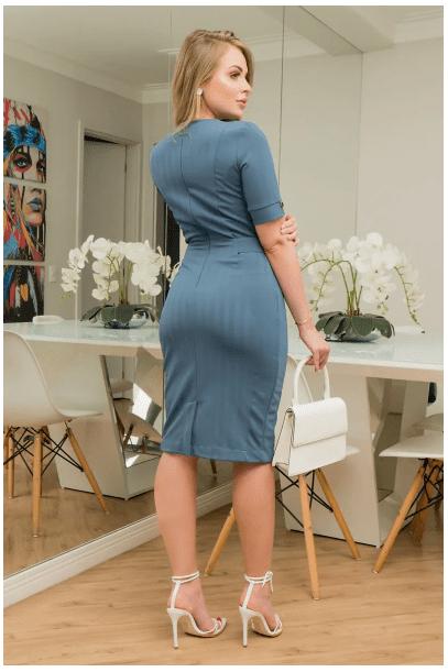 Vestido Em Montaria C Fivela - Moda Evangélica Kauly (2920 T)