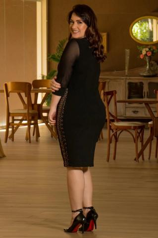 Vestido Em Montaria Recortes Com Renda Forrada - Lançto Kauly (2889 T)