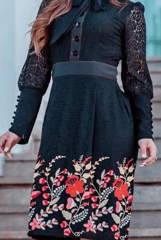 Vestido em Renda Bordada - Moda Evangélica Kauly (2845 E)