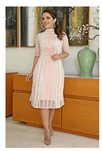 Vestido em Renda Gola Alta - Kauly (2625 E)
