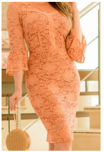 Vestido Em Renda - Moda Evangélica Lançamento Kauly (2908 T)
