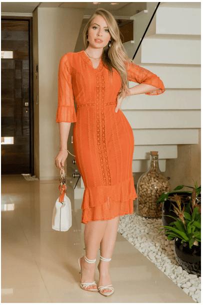Vestido Em Renda - Moda Evangélica Kauly (2928 T)