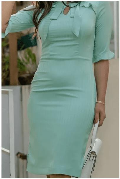 Vestido Em Seda - Moda Evangélica Luciana Pais (92856 T)