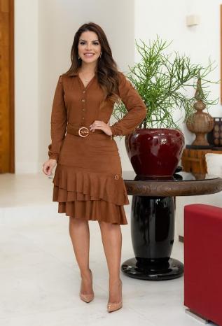 Vestido Em Suede Com Cinto - Lançamento Joyaly (30591 E)