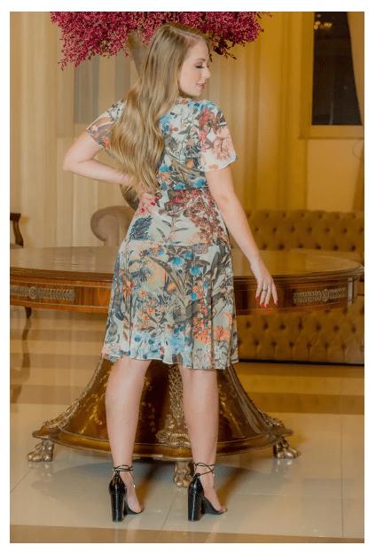 Vestido Em Tule Estampado - Moda Evangélica Kauly (2972 T)