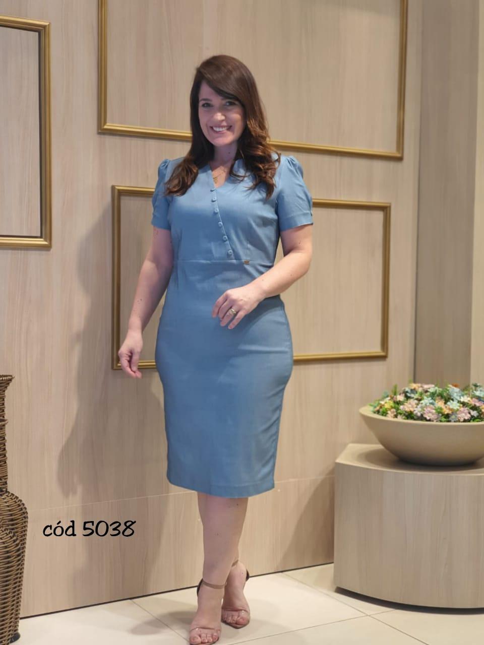 Vestido Em Twill Spam - Moda Evangélica Cechiq (5038 T)