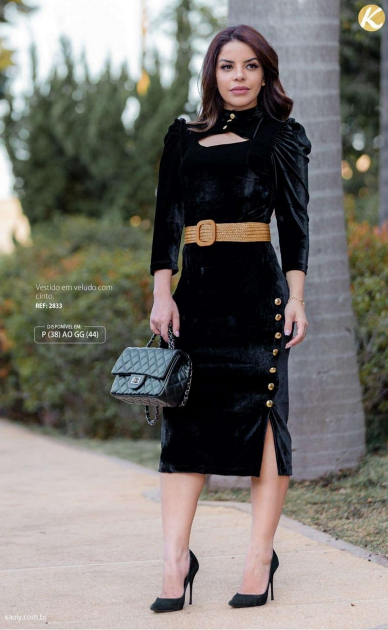 Vestido em Veludo C Cinto - Moda Evangélica Kauly (2833 E)