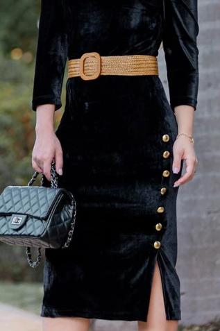 Vestido em Veludo C Cinto - Moda Evangélica Kauly (2833 T)