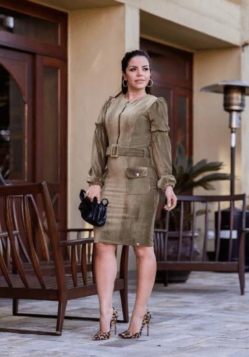 Vestido Em Veludo E Cinto Forrado - Lançto Joyaly (30628 T)