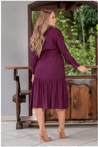Vestido Em Viscolinho - Moda Evangélica Kauly (3085 E)