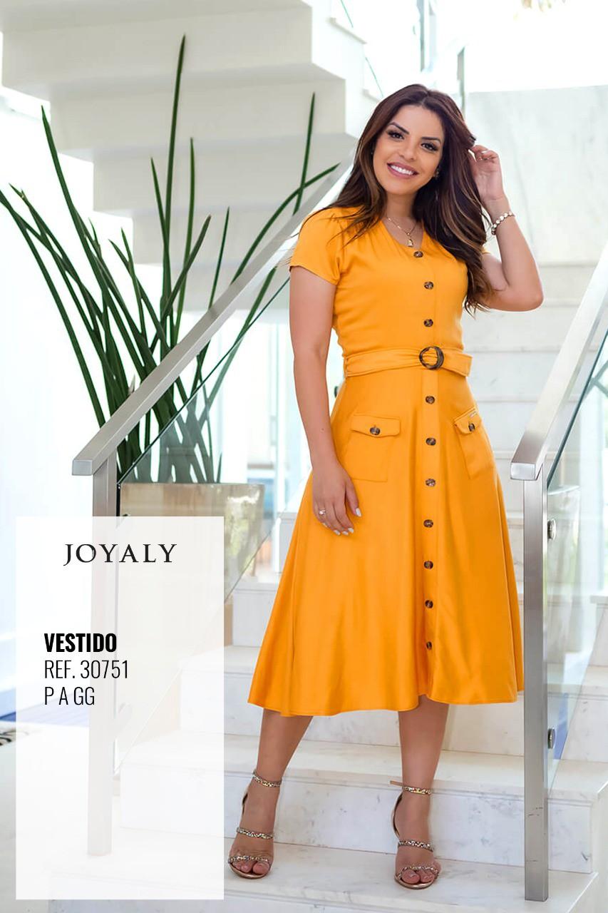 Vestido Em Viscose Bolsos - Moda Evangélica Joyaly (30751 T)