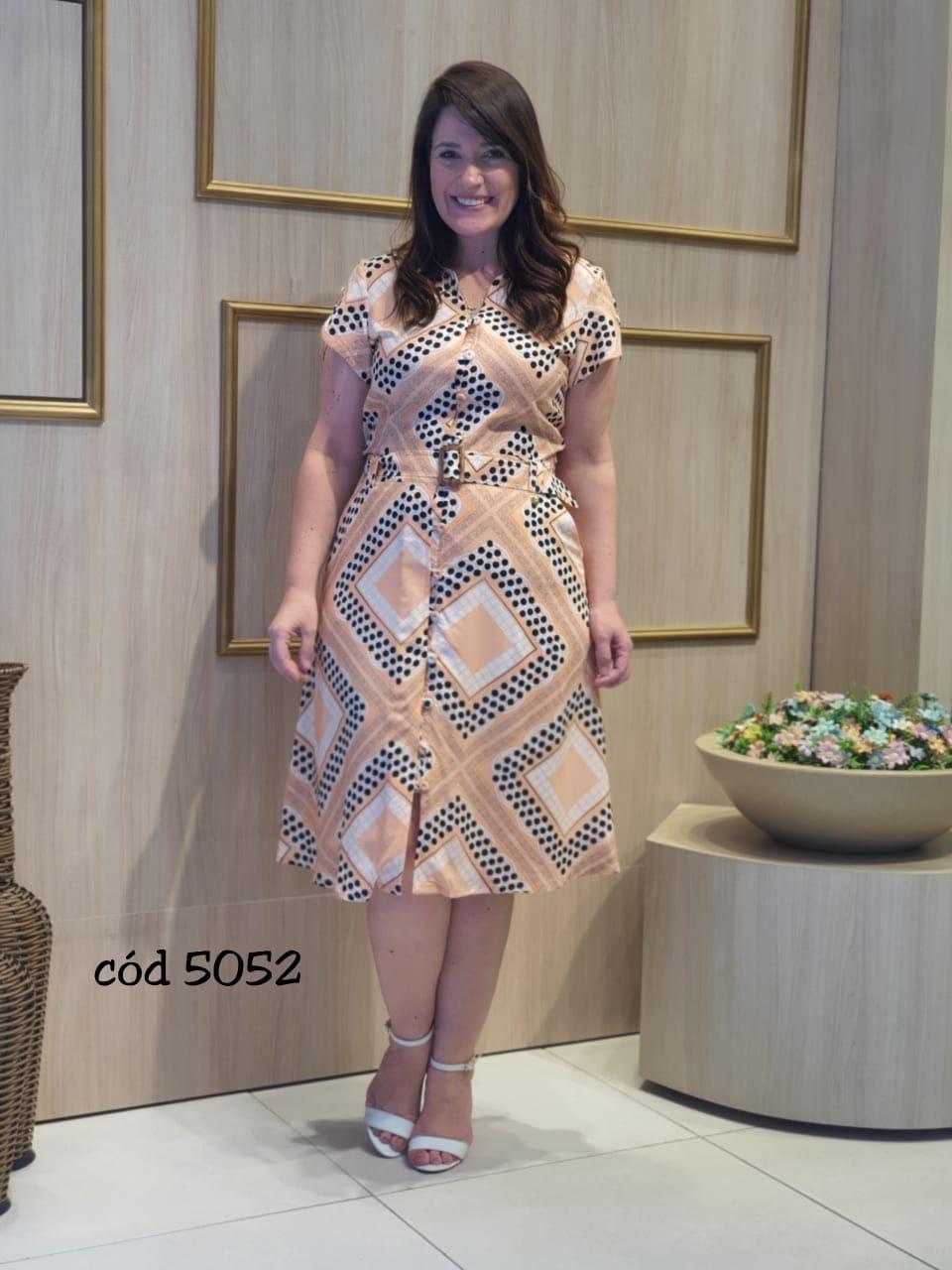 Vestido Em Viscose Pré Lavada - Moda Evangélica Cechiq (5052 T)