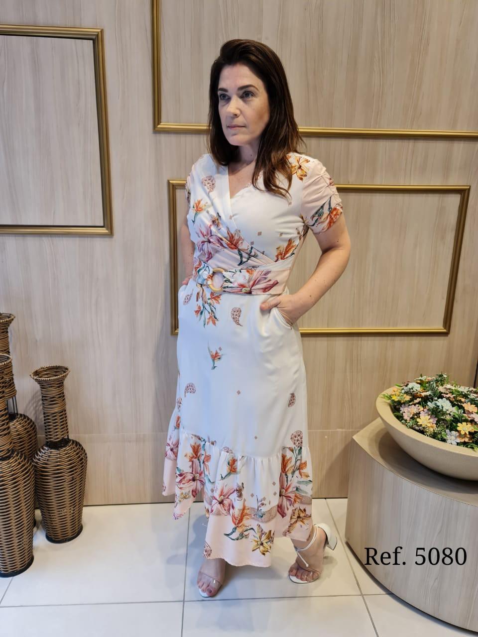 Vestido Em Viscose - Moda Evangélica Cechiq (5080 E)